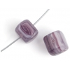 Glass Pressed Beads 8X10mm Cubes Dark Violet